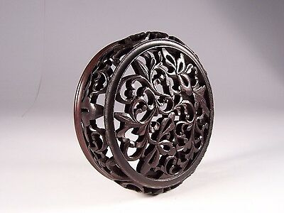 "Fine 19C Chinese Carved Wood Porcelain Vase Cover Lid Dia 5-5/8"" X Stands 1-5/8"""