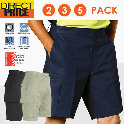 2 3 5 PACK Mens Drill Cargo Work Shorts Pants Heavy Duty Cotton Tradie Pocket