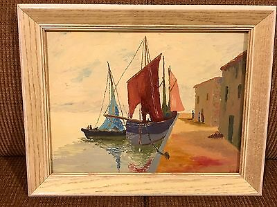 Impressionist oil Painting Boats Signed Unknown