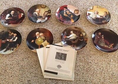 Norman Rockwell Complete Set Of 8 Golden Moments Plates