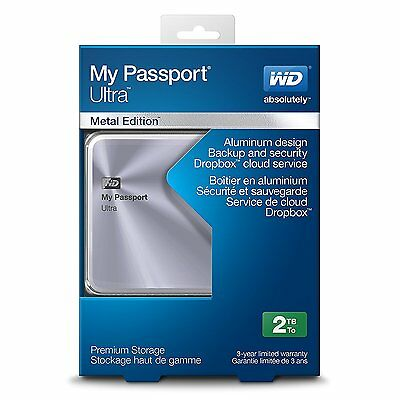 WD 2TB Silver My Passport Ultra Metal Edition Portable External Hard Drive