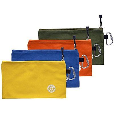 8 Pcs Small Tool Bag Value Set Includes 4 Heavy Duty Canvas Tool w/ 4 Carabines