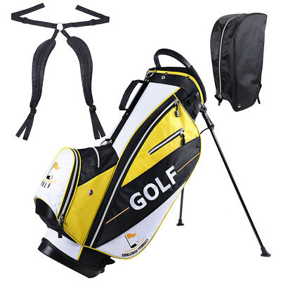 Golf Club Bag with Metal Stand 14-way Top 7 Pockets Free Rain Hood for Men