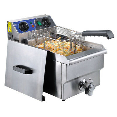Commercial Electric 10L Deep Fryer Timer Stainless Steel Restaurant