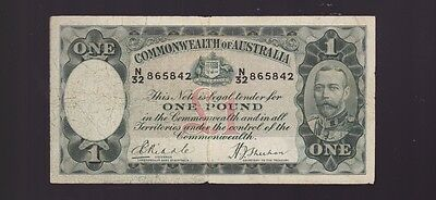 One Pound Paper Banknote Commonwealth of Australia Sheehan Riddle K-345