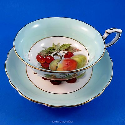 Fruit Center with Light Green Border Hammersley Tea Cup and Saucer Set