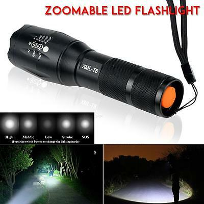 UK Police LED Flashlight Tactical 5000LM XML-T6 Zoomable Torch Lamp 18650 AAA