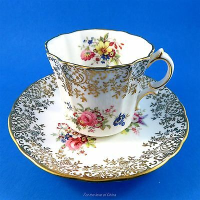 Handpainted Floral & Gold Hammersley Tea Cup and Saucer Set