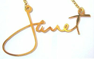 Janet Jackson Signature Logo Gold-Colored Necklace New Official