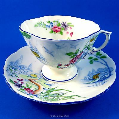 Scenic Blue with Handpainted Floral Hammersley Tea Cup and Saucer Set