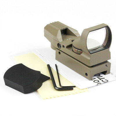 Tactical TAN Holographic Reflex 4 Reticle Red/ Green Dot Sight Scope 20mm Mount
