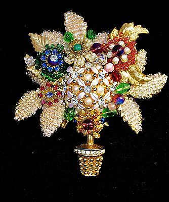 A Vintage Signed 'Stanley Hagler' GIlt & Seed Pearl Floral Topiary Brooch Pin