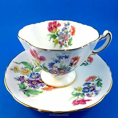 Colorful Floral Bouquet Hammersley Tea Cup and Saucer Set