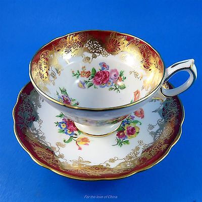 Deep Red and Gold with Floral Design Hammersley Tea Cup and Saucer Set