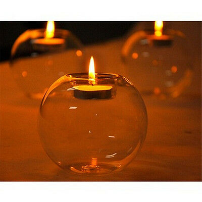 Romantic Crystal Glass Candle Holder Wedding Bar Party Meal Decor Candlestick hc