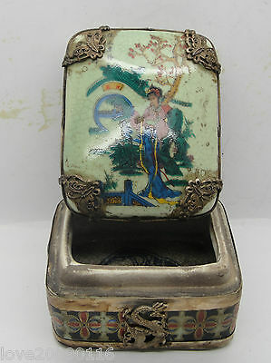 Collectible Old Handwork Porcelain Armored Silver Dragon Drawing Belle Jewel Box