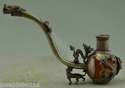Collectible Decor Old Handwork Silver Plate Copper Beeswax Dragon Smoking Pipe
