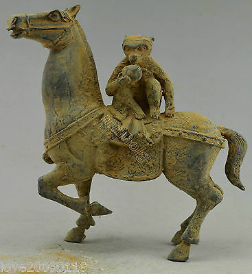 Collectible Decorated Old Handwork Bronze Carved Monkey Horse Statue