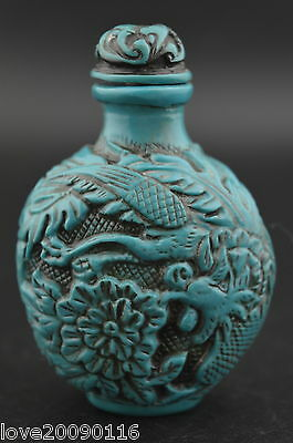 Decorated Turquoise Carve Flying Lifelike Dragon Phoenix Rare Lucky Snuff Bottle