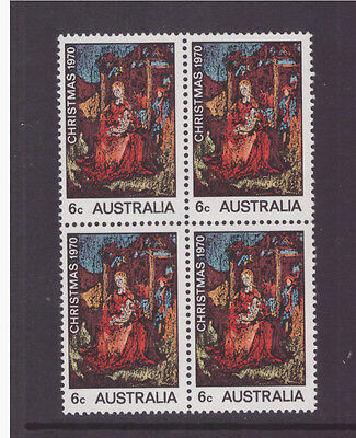 Australia 1970 Christmas SG475 block of 4 mint  stamps
