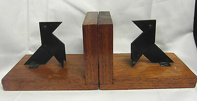 FRENCH ? VINTAGE RETRO 1960's  BOOKENDS MAHOGANY WITH STEEL DOGS