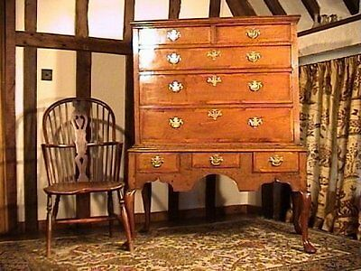 George II Oak and Elm Crossbanded Chest on Stand c. 1740