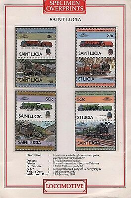 St. Lucia Leaders of the world locomotive stamps Opt SPECIMEN 1983