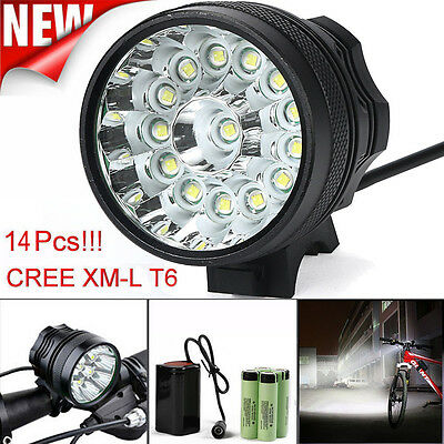 34000LM 14 x CREE XM-L T6 LED 6 x 18650 Bicycle Cycling Light Waterproof Lamp