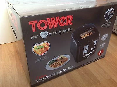 Tower T17002 Easy Clean Deep Fat Fryer 2300w, 3Ltr, Black, New in Sealed Box