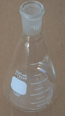 Corning Pyrex 500mL Glass Erlenmeyer Flask No. 5000 24/40 Joint