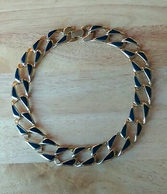 Vintage 1980s goldtone and blue enamelled chunky chain choker necklace