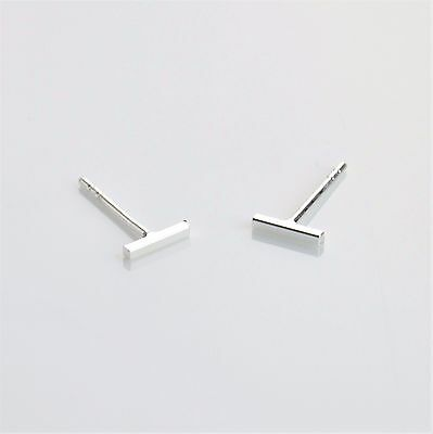 925 Sterling Silver Tiny Square Bar Stud Earrings - Minimal and Subtle. 6x1mm