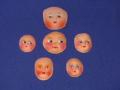 GENUINE 1920s - 30s KEWPIE DOLL FACES - RAG DOLL FACES - STIFFENED FABRIC -
