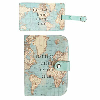 Travel Set- Vintage World Map Passport Holder & Luggage Tag