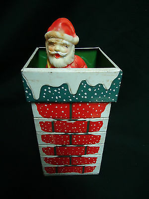 Vintage Tin Litho Christmas Santa Claus in Chimney Japan Toy Wind-Up WORKS!