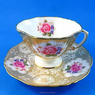 Rich Gold and Floral Hammersley Demitasse Tea Cup and Saucer Set (Some Crazing)
