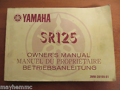 Yamaha Sr125 Owners Handbook Manual  *fast Free Postage*
