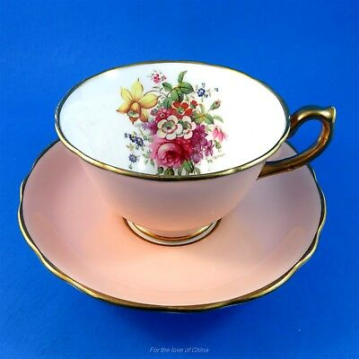 Pink Hammersley Signed F. Howard Floral Bouquet Tea Cup and Saucer Set