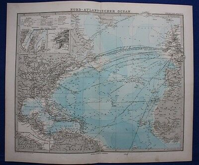 NORTH ATLANTIC OCEAN, UNDERSEA TELEGRAPH, original antique map, Steiler,1880