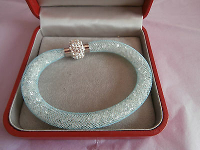 Swarovski style pale blue bracelet with magentic closure and rhinestone cover
