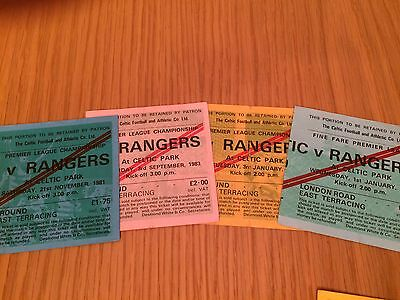 4 different CELTIC v RANGERS tickets from the 1980s