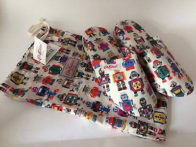 Cath Kidston Robot Design Slippers in Fabric Bag BNWT  Large - size 6.5 - 7.5
