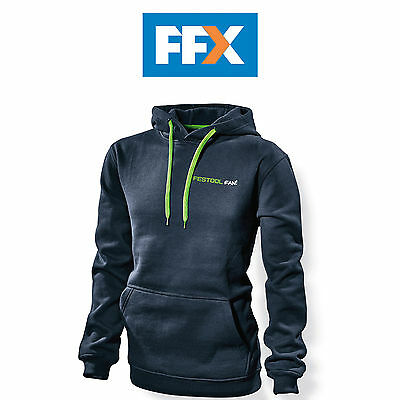 Festool 201300 Fan Hoodie Dark Blue with Green Drawstring Cord - Small
