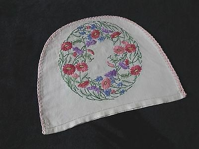 Vintage Linen Hand Embroidered Tea Cosy Cover