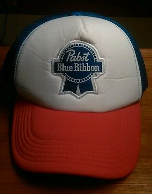 Pabst Blue Ribbon Trucker Snap Back Hat Red White and Blue Embroidered Patch