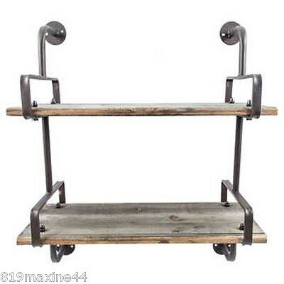 Rusty Industrial Shelf with Wood Planks Shabby Chic Home Wall Decor.On Sale