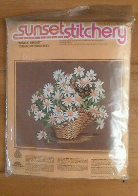"""Embroidery Kit Sunset Stitchery """"Daisies in a Basket"""" New"""