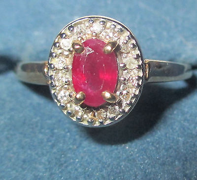 New 10K Gold Genuine Ruby Ring - Size 7