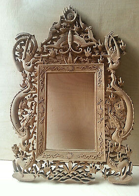 Ornate Chinese Sandalwood Frame - Depicting Dragons and Birds