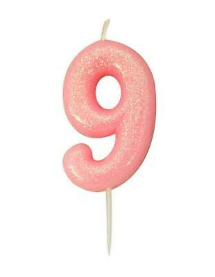 Pink Glitter Numeral Moulded Cake Candle - No 9